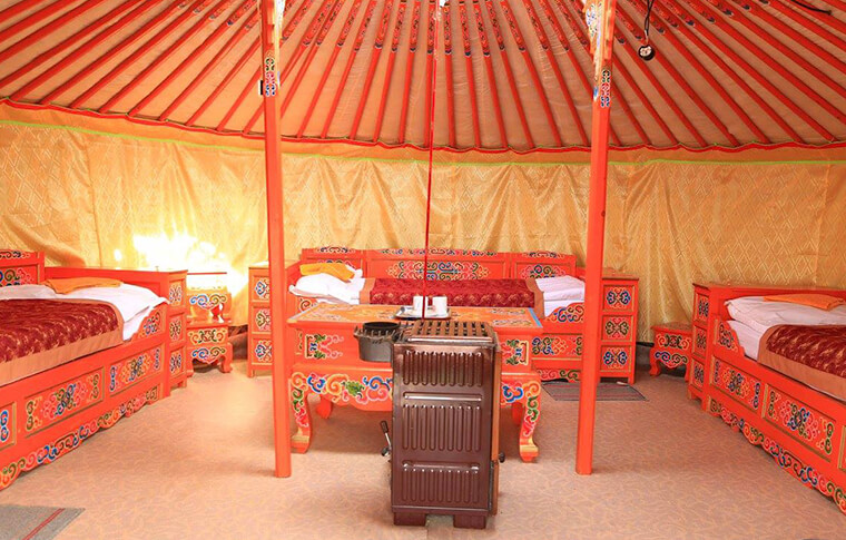 The red inside of one of the traditional Mongolian tents